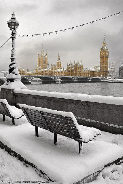 Snow in London on the banks of the Thames.