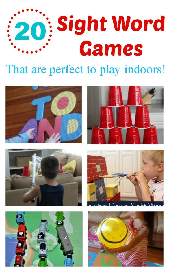20 Indoor Sight Word Games and Activities! Perfect for a rainy day!