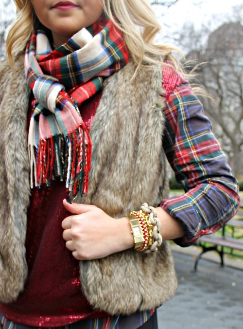 Love this look...scarf and fur vest!