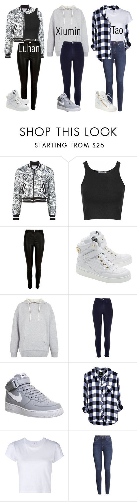 """Exo Inspired Outfits Pt.4"" by fangirlkaly8102 ❤ liked on Polyvore featuring Moschino, Glamorous, River Island, New Look, NIKE, RE/DONE, H&M, Giuseppe Zanotti, kpop and EXO"