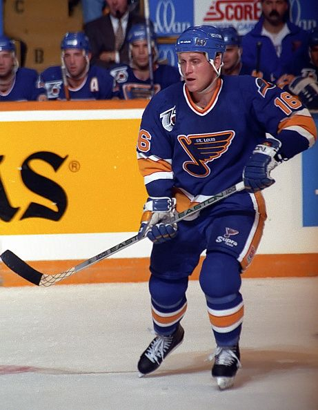 Brett Hull of the St Louis Blues skates up ice against the Toronto Maple Leafs during NHL game action at Maple Leaf Gardens in Toronto Ontario Canada...