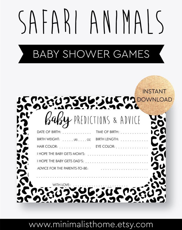Safari Baby Shower Games And Decorations Animals Print Gender Etsy Baby Shower Printables Printable Baby Shower Games Baby Prediction