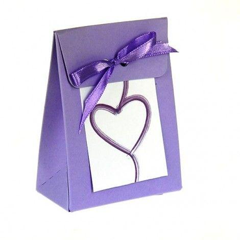 Bolsitas corazón púrpura para dulces (x10)