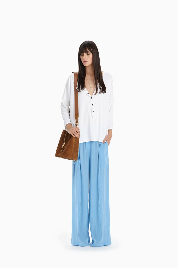 White Studded Henley + Cornflower Maxi Panel Pant