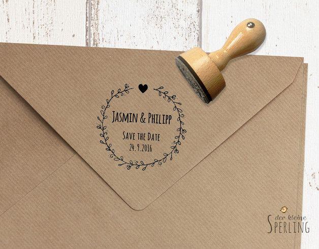 Einladungskarten - STEMPEL . Save the Date . Hochzeit . Zarte Blätter - ein Designerstück von DerkleineSperling-Stempel bei DaWanda