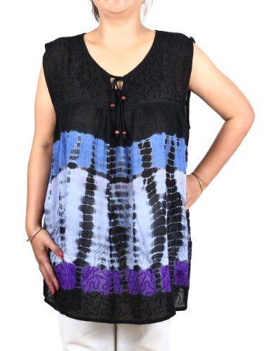 Women Top Tie Dye Colorful Embroidered Rayon Summer Shirt ShalinIndia http://www.amazon.in/dp/B00CO3RCR0/ref=cm_sw_r_pi_dp_S-00tb10QD6YMBB2