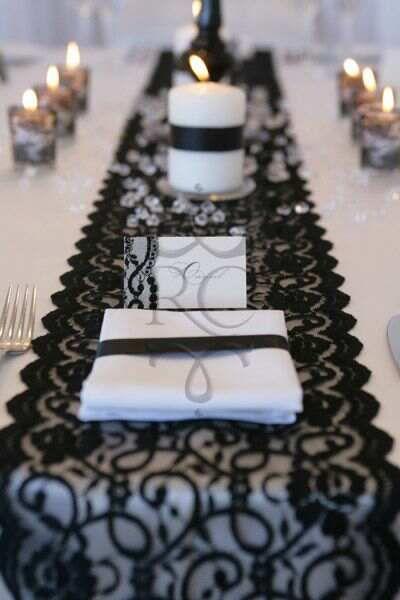 Black & White Wedding Theme ~ Black Lace Table Runner ♡❤ http://lambandblonde.blogspot.be/2013/08/black-white-wedding-theme.html