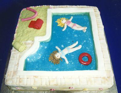 Floating Girls Square Swimming Pool Cake