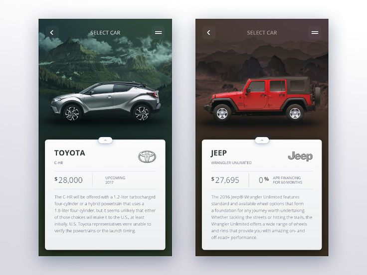 Car selection stage iOS app shared via https://chrome.google.com/webstore/detail/design-hunt/ilfjbjodkleebapojmdfeegaccmcjmkd?ref=pinterest