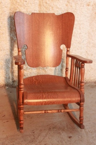 Antique Victorian Tiger Oak Pressed Back Rocking Chair