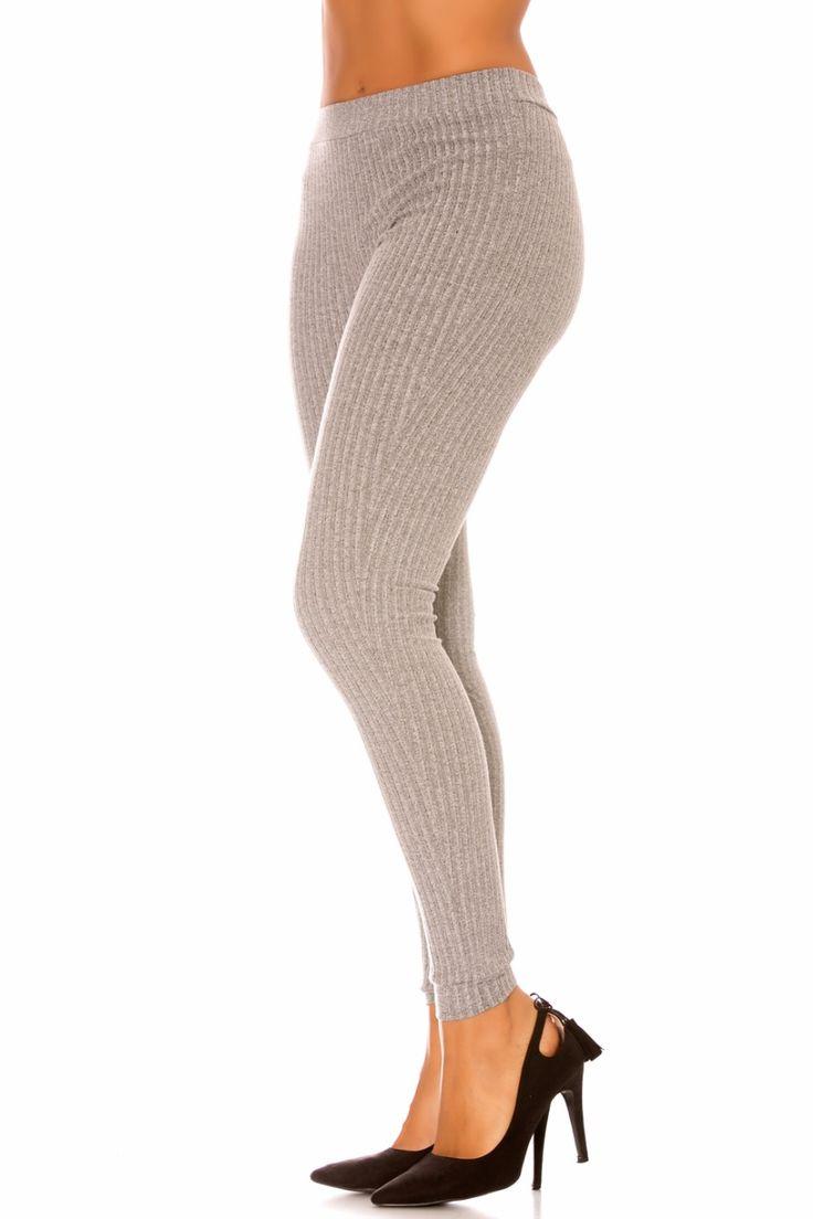 Leggings fashion hiver à rainures en maille - bestyle29.com