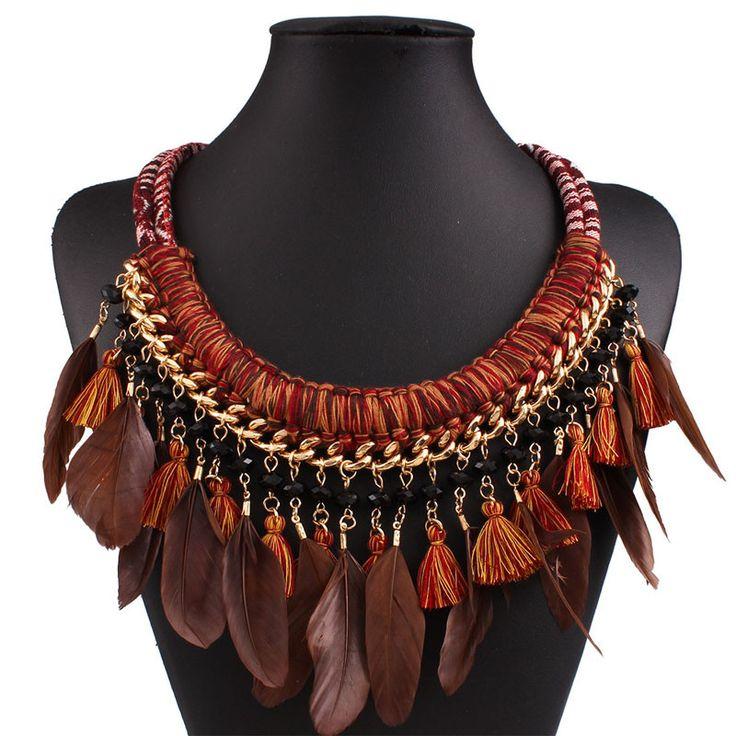 Boho Maxi Feather Necklace Boho Choker