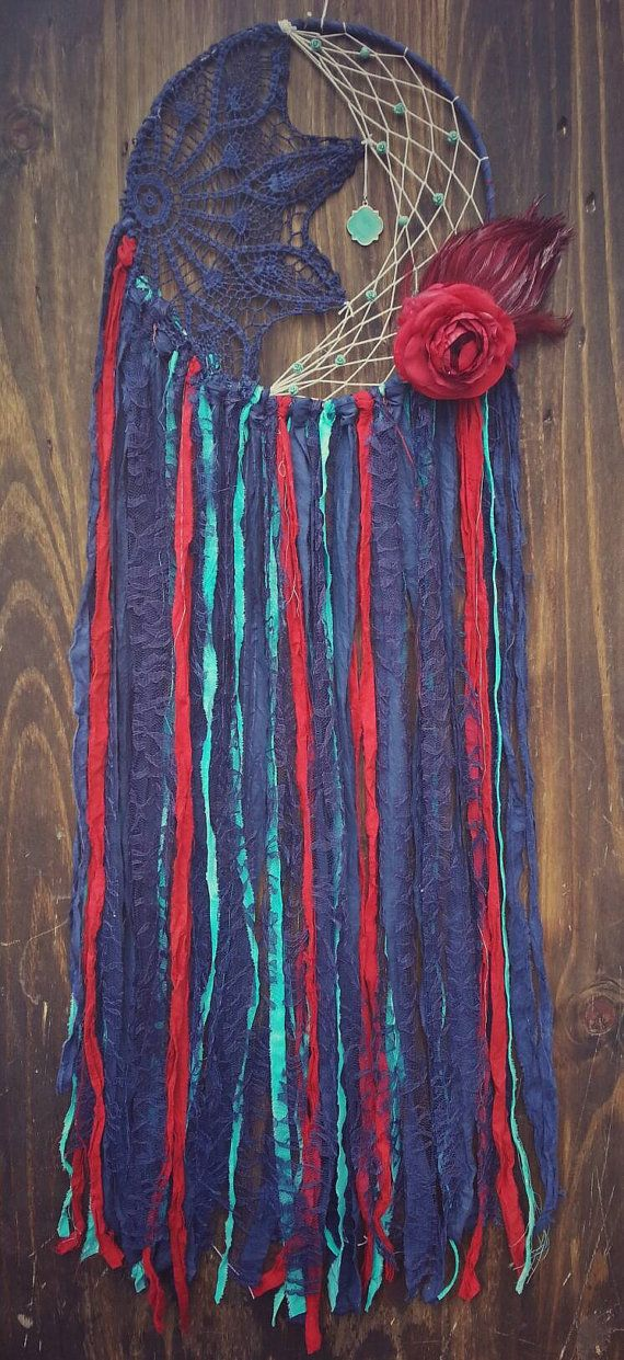Aqua, Navy, and Red Dream catcher from The Wandering Feather shop !