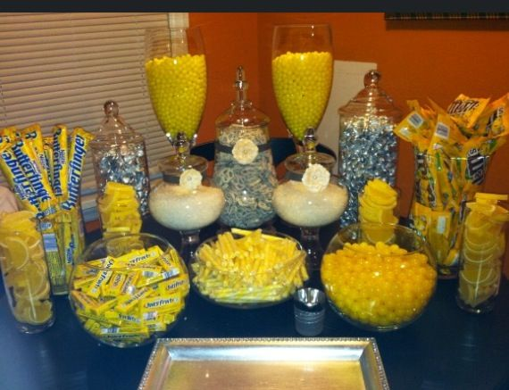 Gray And Yellow Candy Table Instead Of Favors White Choc