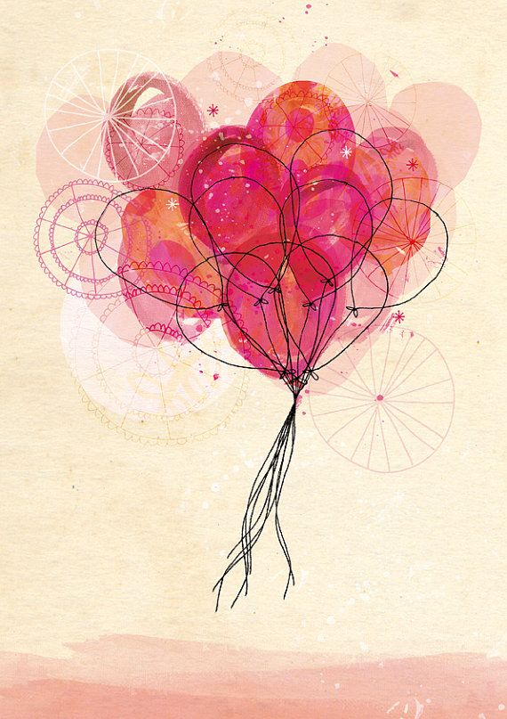 Carnival Balloons Art Print A4 8x11 by lovelysweetwilliam on Etsy, $24.00