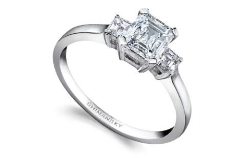 Shimansky Emerald Cut Diamond Trilogy Ring | Classic Collection
