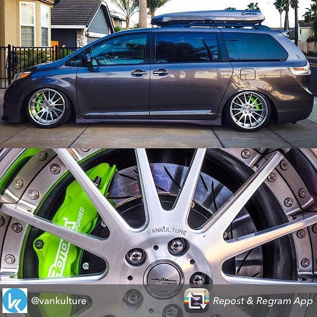 Repost from @vankulture using -  @hydrosportca @honu30  Got BBKS?  @autornd  @amewheels  @rotorainc  AME wheels engraved with #vankulture from @autornd  #toyota #sienna #vanning #slammed #airsuspension #accuair #becausebags #innoracks #dmcsuspensions #slammed #clean #proper #minivan #rotora