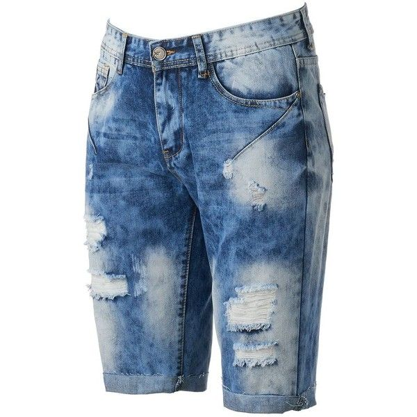 Men's Xray Slim-Fit Distressed Stretch Denim Shorts ($48) ❤ liked on Polyvore featuring men's fashion, men's clothing, men's shorts, blue, mens blue shorts, mens distressed shorts, mens ripped shorts, slim fit mens clothing and mens ripped jean shorts