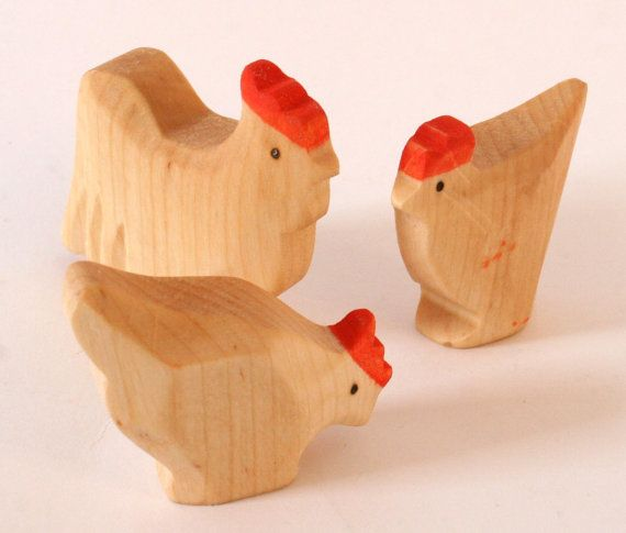 Cock And Chicken Farm Animals Wooden Carved By Hand Toys Waldorf Toy Natural