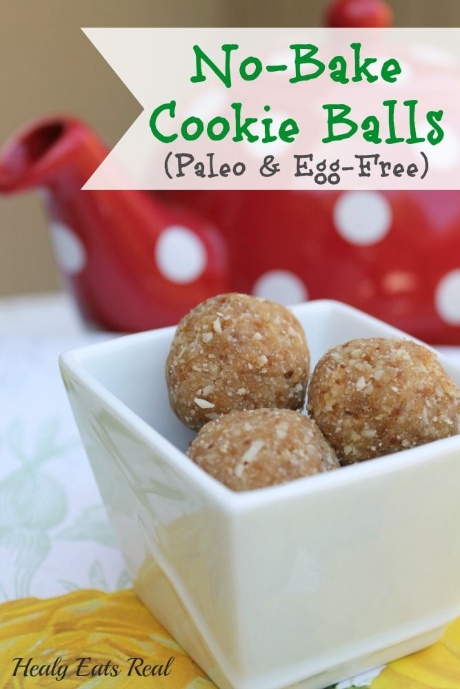 No Bake Paleo Cookie Balls (Egg-Free) - Healy Eats Real #paleo #desserts #cookie #vegan