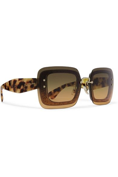 MIU MIU Square-frame glittered acetate sunglasses Miu Miu's oversized square-frame sunglasses are part of the label's eyewear collection entitled 'Reveal'. Beneath the brown gradient lenses they shimmer with gold glittered acetate frames that complement the wide tortoiseshell arms. Wear them at the beach or in the city.