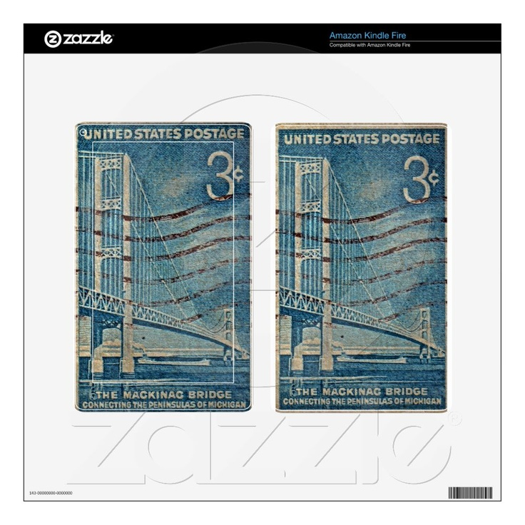 1958 The Mighty Mac Decals For Kindle Fire (other device decals/images available!) :)  ~ $34.55 #michigan #mackinac #bridge #stamps ~