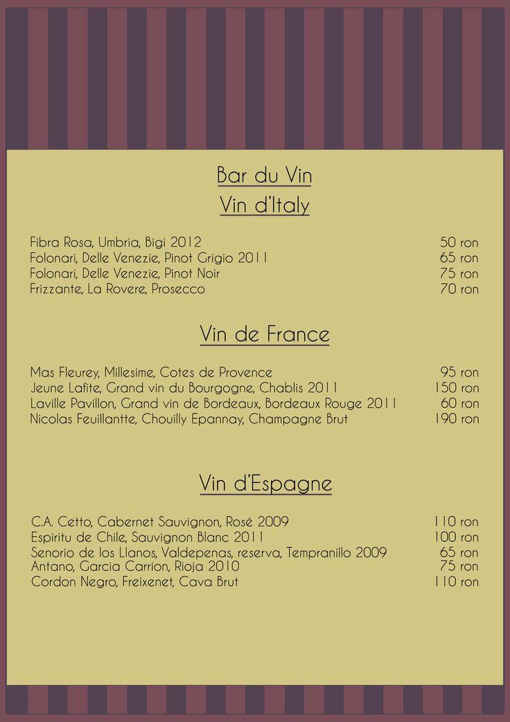 Menu du Vin (wine)