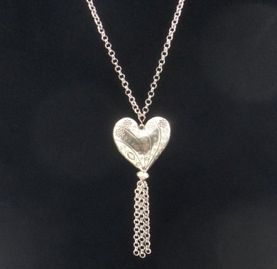 Large Tibetan Heart Stainless Steel Chain with Tassel Necklace 2