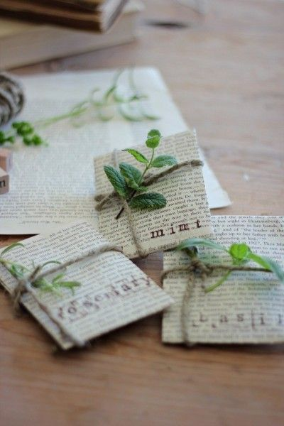 Seed packets made from old books.