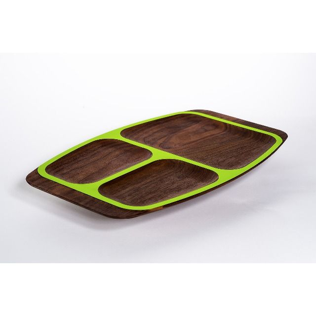 he WUD Plate Series redefines the functionality of serve ware with a refined Scandinavian edge. Made of beautiful solid walnut, this tray consists of a scooped center with colorful trim