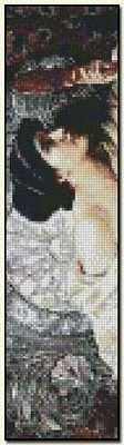The Mirror Bookmark - Sir Francis Dicksee Fine art cross stitch pattern. Color chart available. http://www.artofstitching.com/index.php?main_page=product_info&cPath=45_133&products_id=1013