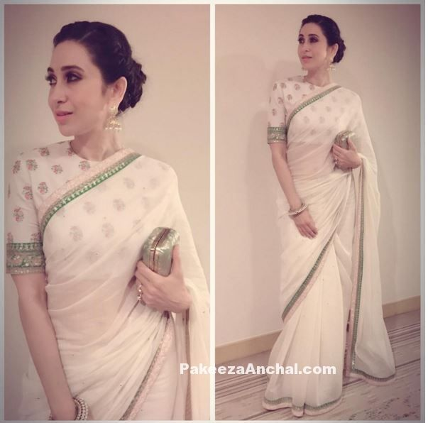 Karishma Kapoor in White Sabyasachi Saree with Full sleeved Blouse-PakeezaAnchal.com