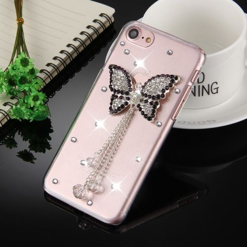 [€2.52] Fevelove for iPhone 7 Diamond Encrusted Black Butterfly Pattern Protective Back Cover Case