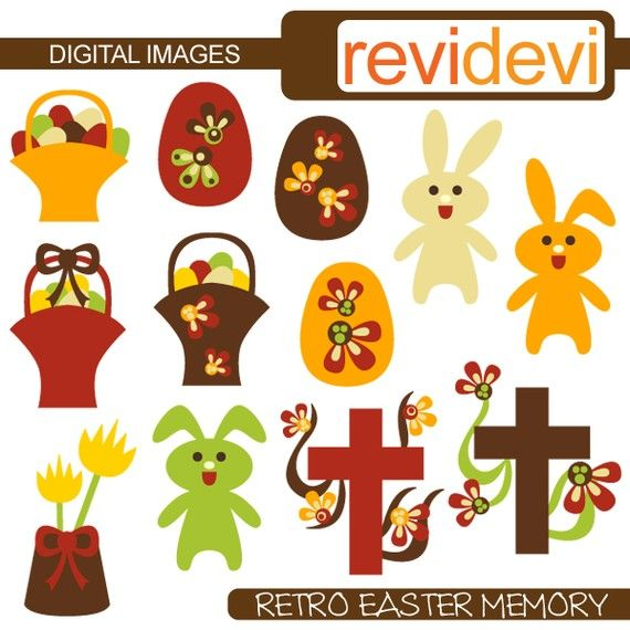 Easter clipart  Retro Easter Memory 08092  Digital by revidevi