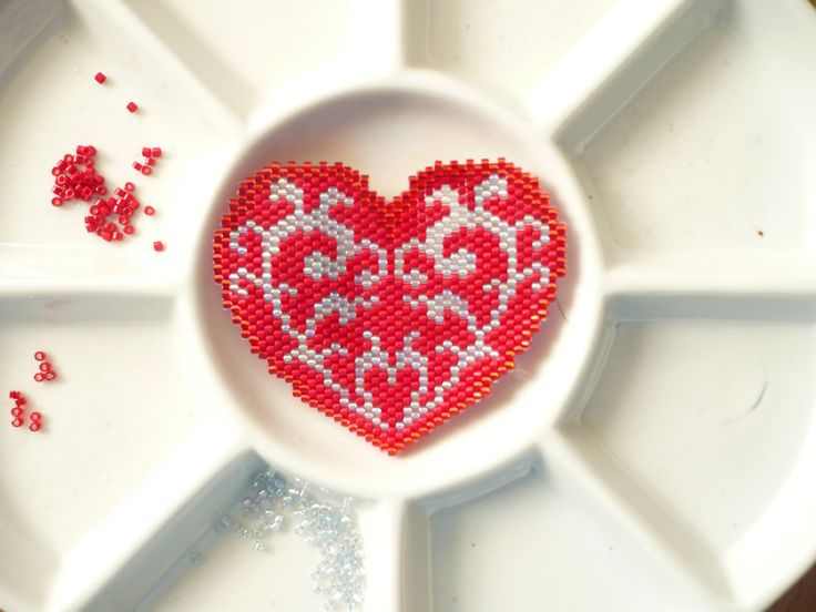 Red Heart brick stitched by Regina 2018