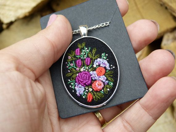 Multicolor flower necklace Hand embroidered by EmbroideredJewerly