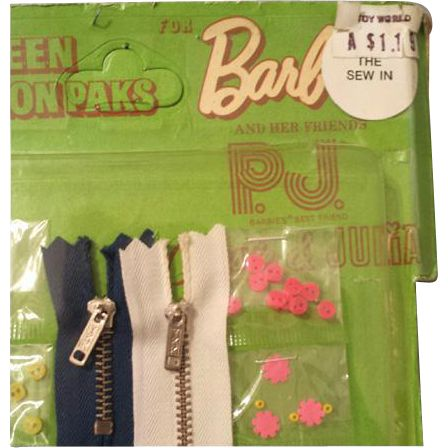 Miniature sewing kit with, notions, by Mattel for Barbie, P.J. Stacey, Christie or Julia. Original card is marked: Teen Fashion Paks, Dated 1970.