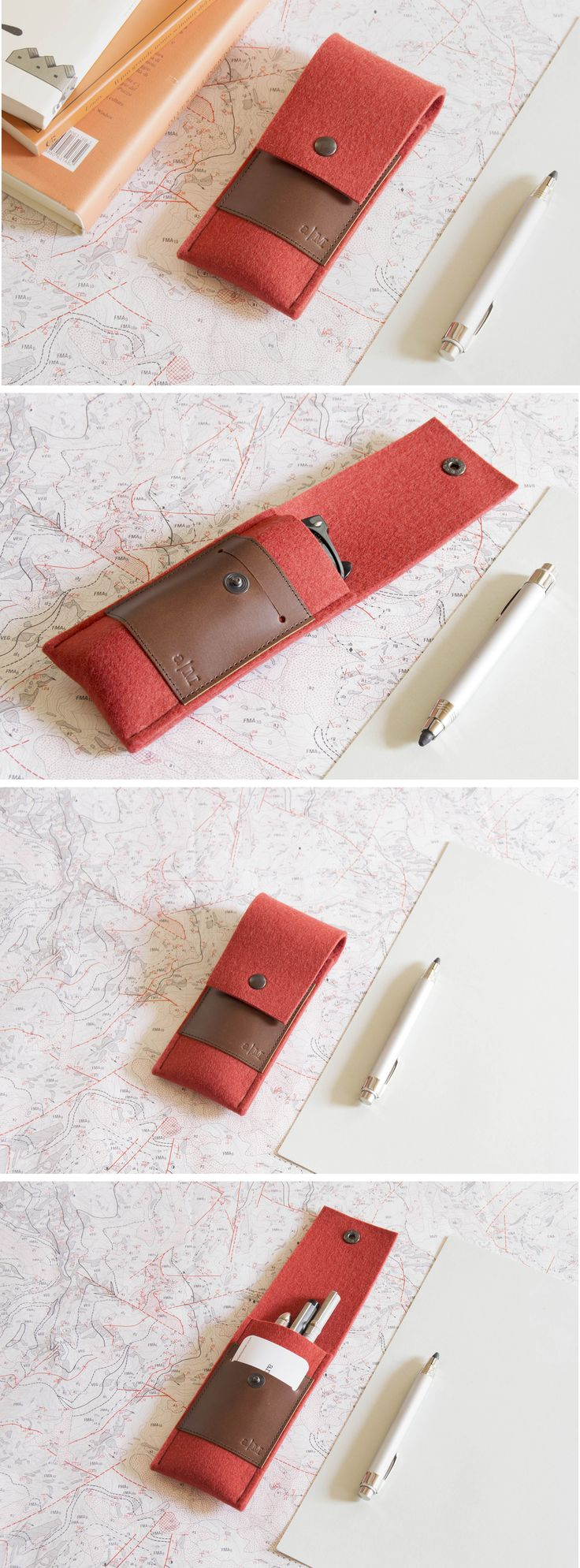 Wool felt and real leather case, pencilcase, penholder - orange and brown - made in Italy