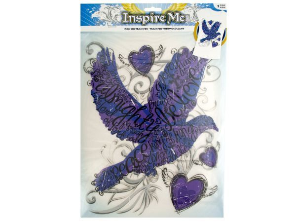 "Iron-On Religious Dove Transfer, 60 - Bring a plain t-shirt to life or decorate accessories with this Iron-On Religious Dove Transfer featuring a purple dove covered with religious sayings and surrounded by hearts and swirls. Includes one 8.5"" x 11"" sheet. Instructions included. Comes packaged in a poly bag with a header card.-Weight: 0.098/unit"