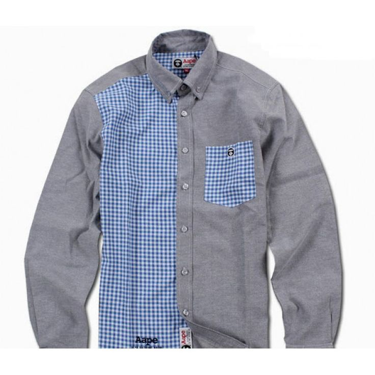 "Denim and plaid..COOL! Check out this A Bathing Ape AAPE ""Ginham Oxford Hybrid"" Button Up Shirt Collection at fusionswag.com #BAPE #AAPE #ABathingApe #buttonup #shirt #streetfashion #streetwear #urbanwear #fusionswag"