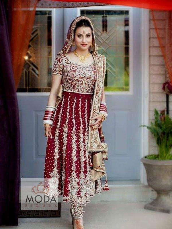 Very heavy maroon colour bridal anarkali suit for Sikh bride. Esp for Gurudwara wedding ceremony
