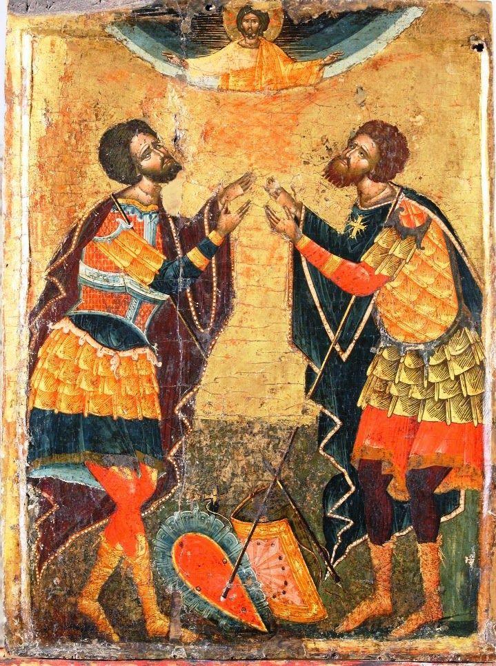 Orthodox Icon-Saint Theodore Stratelates and Saint Theodore Tiro (Sts Theodori). 16th c,. Onoufrios of Neokastro (Onufri). Onufri national museum, Berat, Albania