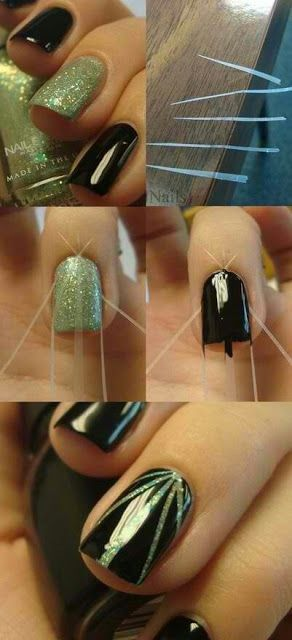 ...Keep Calm and duct Your Nails...  1.Apply Base coat 2. cut thin strips of duct tape 3. place tape on nails 4. apply top coat 4. apply clear polish for gloss finish.