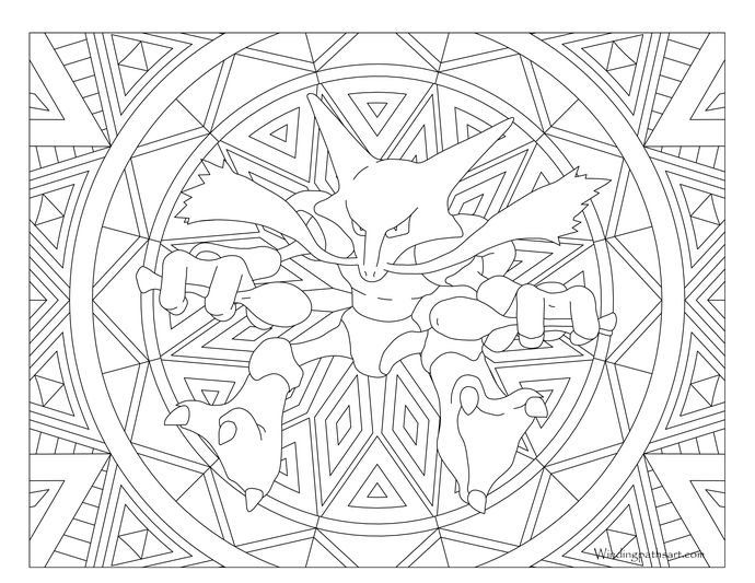 Adult Pokemon Coloring Page Alakazam