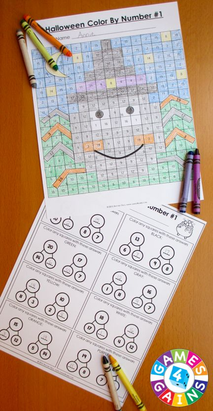 Halloween Math Color-by-Number set comes with 6 Halloween math color-by-number activities for reviewing 2nd grade math skills. This Halloween math set is perfect to use in centers, in small groups, or with the whole class!