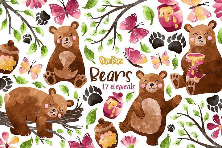 Bears Watercolor Cliparts 369430 Illustrations Design Bundles In 2021 Bear Watercolor Watercolor Clipart Spring Animals