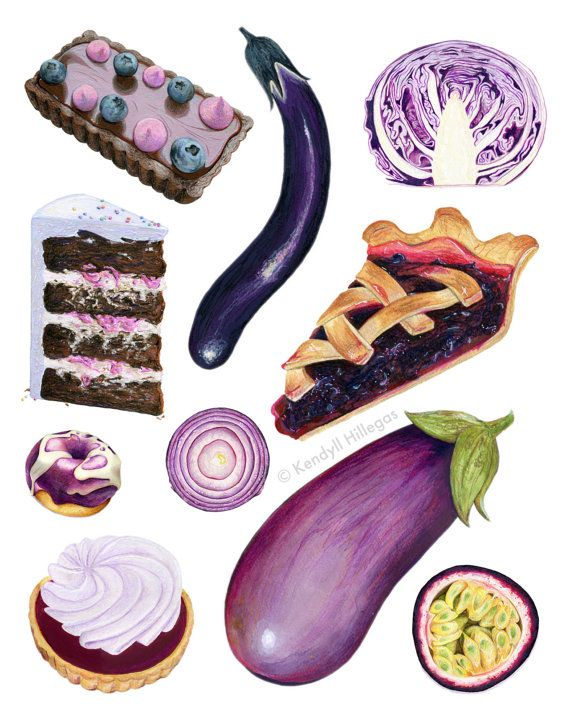 Purple Foods Chart // Food Illustration // Archival Quality Print, Wall art by KendyllHillegas