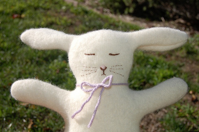 Close up of the sleeping bunny doll I made from a recycled angora sweater.: Angora Sweater, Photo