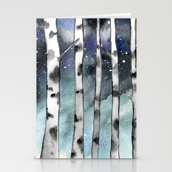 Birch Shadows In Winter Stationery Cards #letter #stationary #art #artist #watercolor #birchtrees #Birch #trees #nature #sky #night #cosmic #galaxy #naturelover #wanderlust #plant #blue #stars