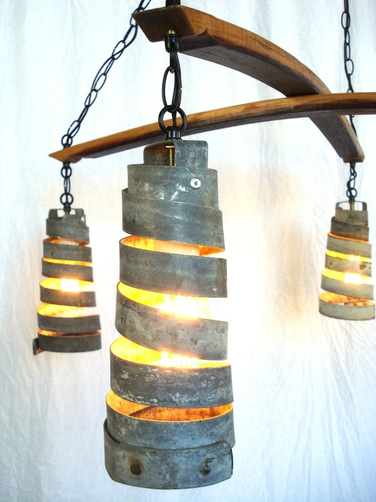 recycled Napa Wine Barrel Ring chandelier, via Etsy